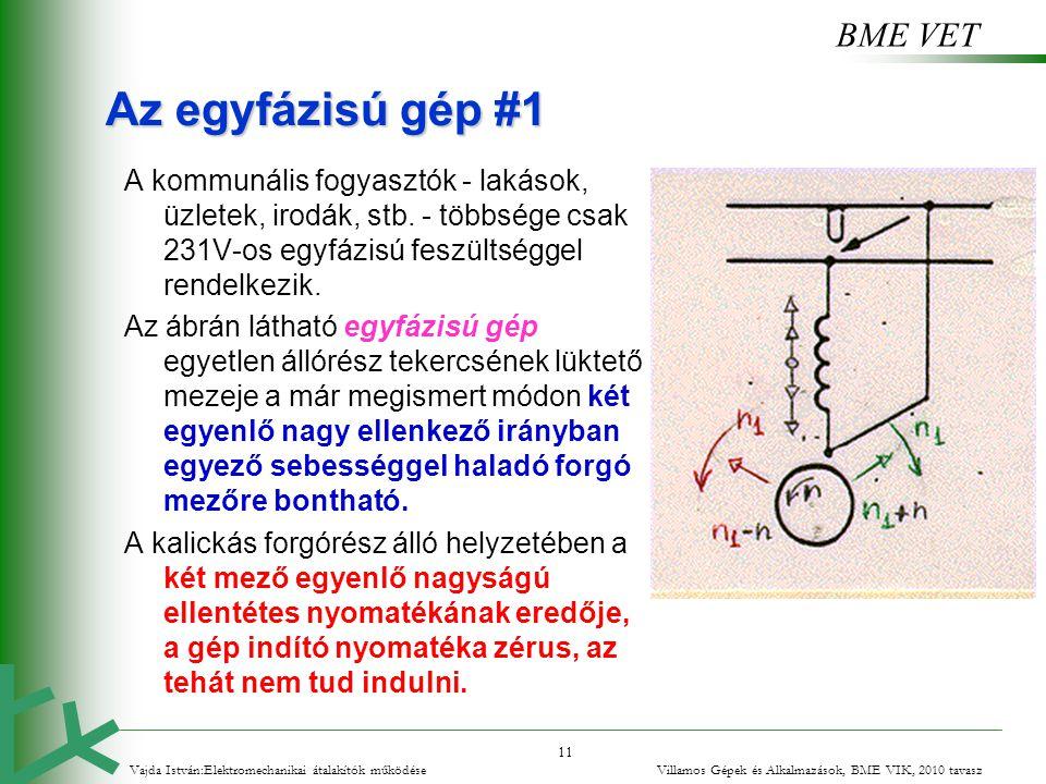 BME VET 11 Az egyfázisú gép #1 A kommunális fogyasztók - lakások, üzletek, irodák, stb. - többsége csak 231V-os egyfázisú feszültséggel rendelkezik. A