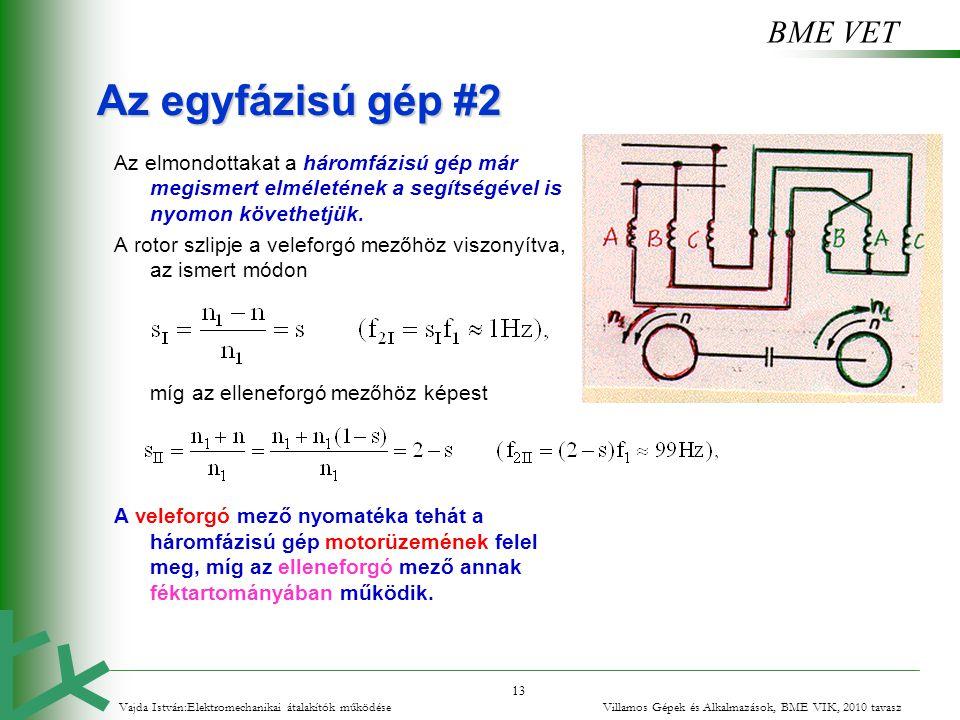 BME VET 13 Az egyfázisú gép #2 Az elmondottakat a háromfázisú gép már megismert elméletének a segítségével is nyomon követhetjük. A rotor szlipje a ve