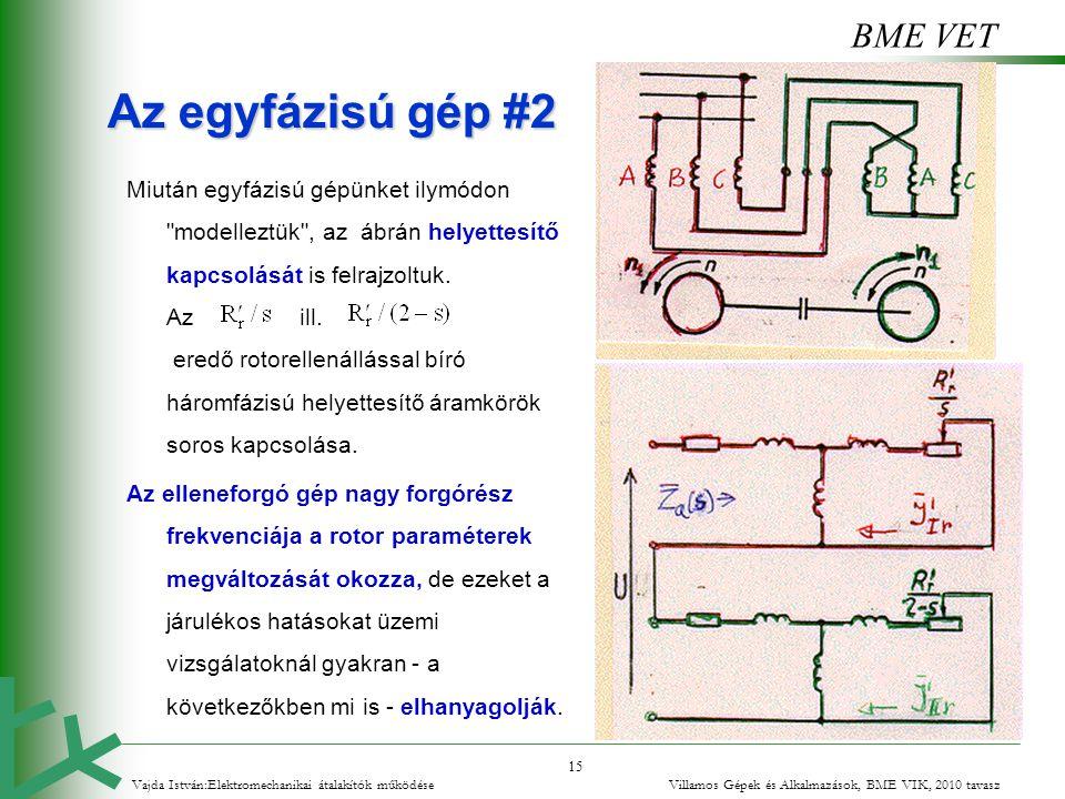 BME VET 15 Az egyfázisú gép #2 Miután egyfázisú gépünket ilymódon