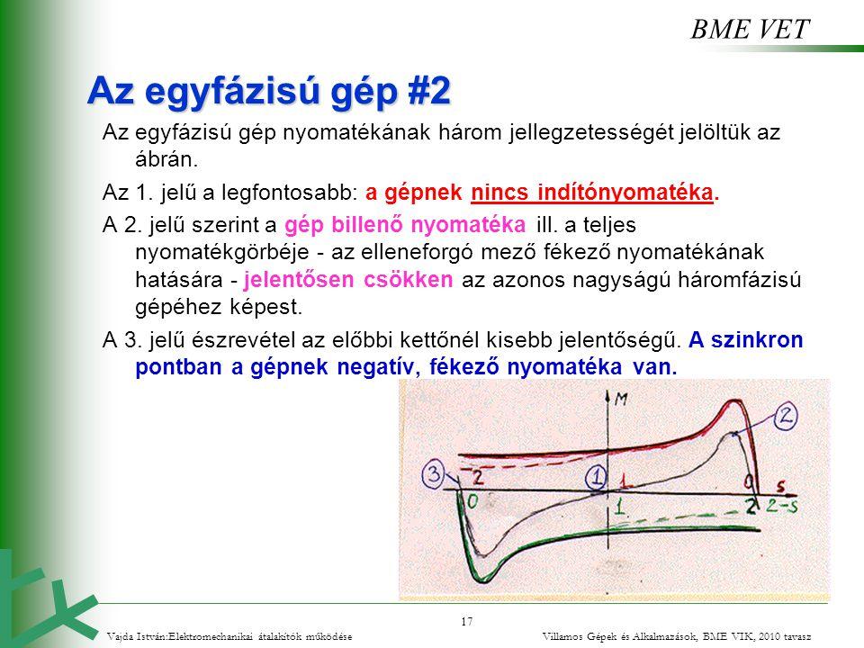 BME VET 17 Az egyfázisú gép #2 Az egyfázisú gép nyomatékának három jellegzetességét jelöltük az ábrán. Az 1. jelű a legfontosabb: a gépnek nincs indít