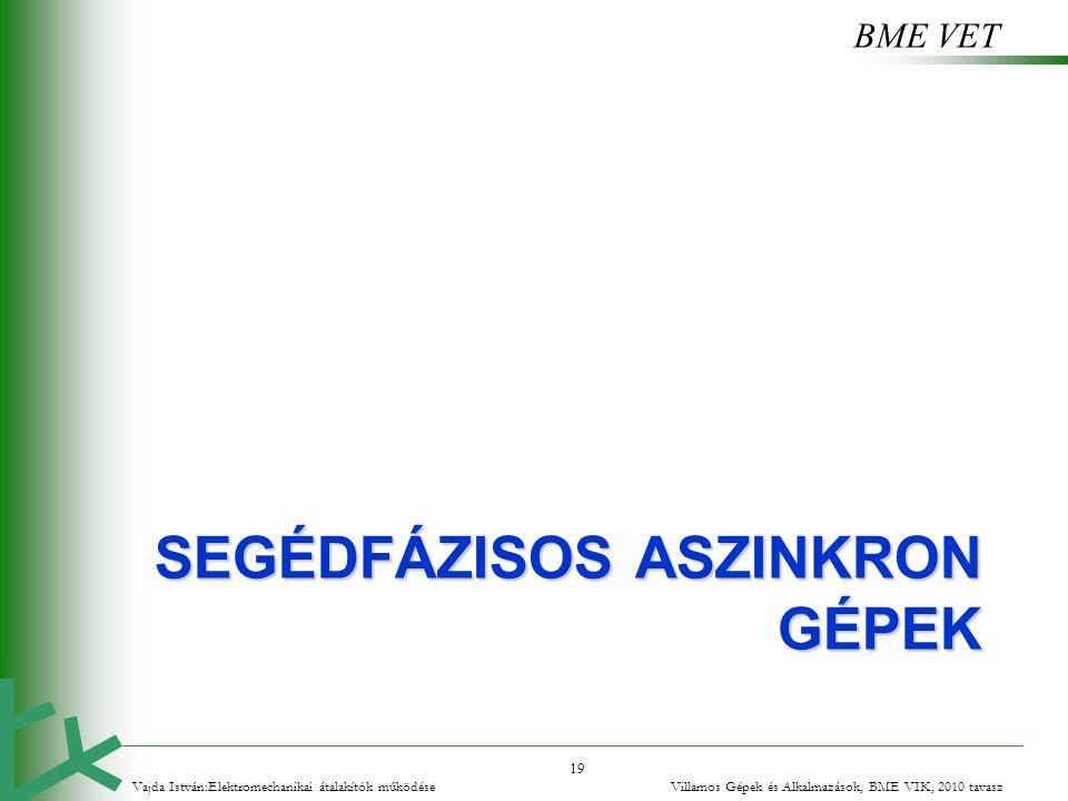 BME VET 19 SEGÉDFÁZISOS ASZINKRON GÉPEK Vajda István:Elektromechanikai átalakítók működése Villamos Gépek és Alkalmazások, BME VIK, 2010 tavasz