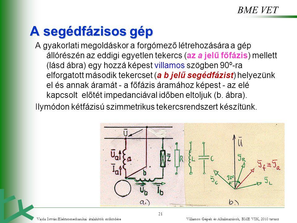 BME VET 21 A segédfázisos gép A gyakorlati megoldáskor a forgómező létrehozására a gép állórészén az eddigi egyetlen tekercs (az a jelű főfázis) melle