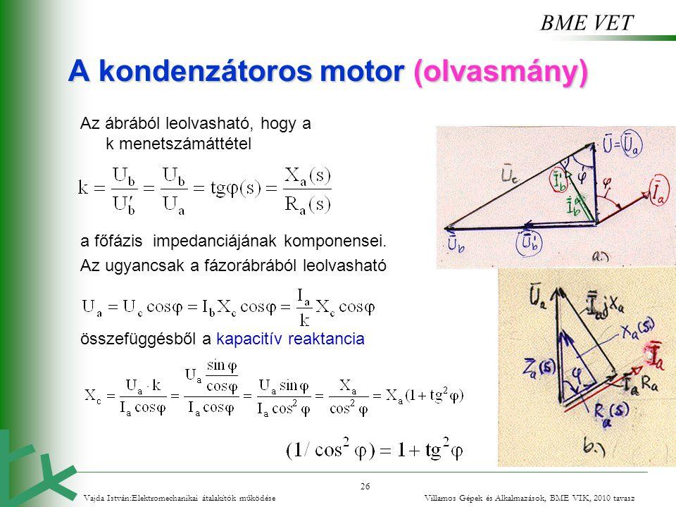 BME VET 26 A kondenzátoros motor (olvasmány) Az ábrából leolvasható, hogy a k menetszámáttétel a főfázis impedanciájának komponensei. Az ugyancsak a f