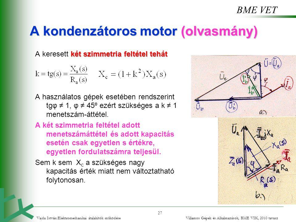 BME VET 27 A kondenzátoros motor (olvasmány) két szimmetria feltétel tehát A keresett két szimmetria feltétel tehát A használatos gépek esetében rends