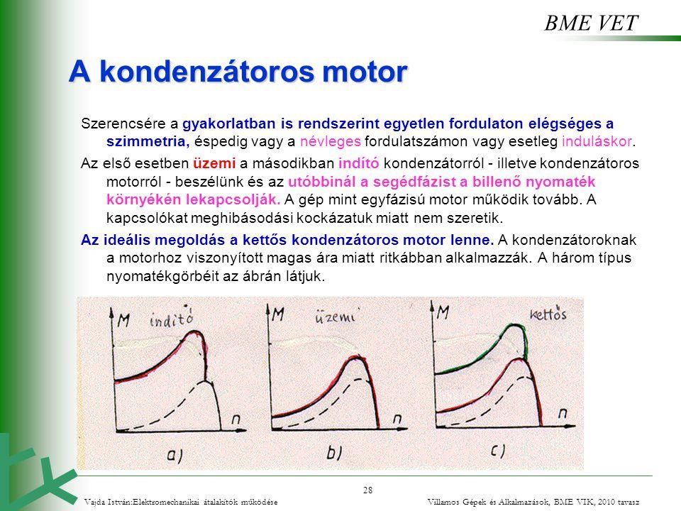 BME VET 28 A kondenzátoros motor Szerencsére a gyakorlatban is rendszerint egyetlen fordulaton elégséges a szimmetria, éspedig vagy a névleges fordula