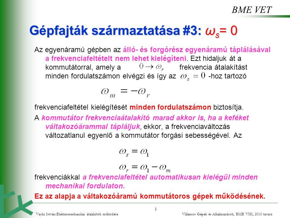 BME VET 24 A kondenzátoros motor Gyakorlati okokból a két tekercs hatásos menetszáma általában nem egyenlő (a két tekercs merőleges térbeli helyzetét végig feltételezzük): A szimmetria feltételek - a körforgó fluxus feltételei - szimmetrikus többfázisú - itt kétfázisú - gerjesztésrendszert azaz egyező nagyságú előírt - merőleges - szöghelyzetű gerjesztésrendszert, azaz az összefüggést írják elő.