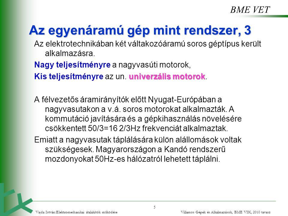 BME VET 5 Vajda István:Elektromechanikai átalakítók működése Villamos Gépek és Alkalmazások, BME VIK, 2010 tavasz Az egyenáramú gép mint rendszer, 3 A