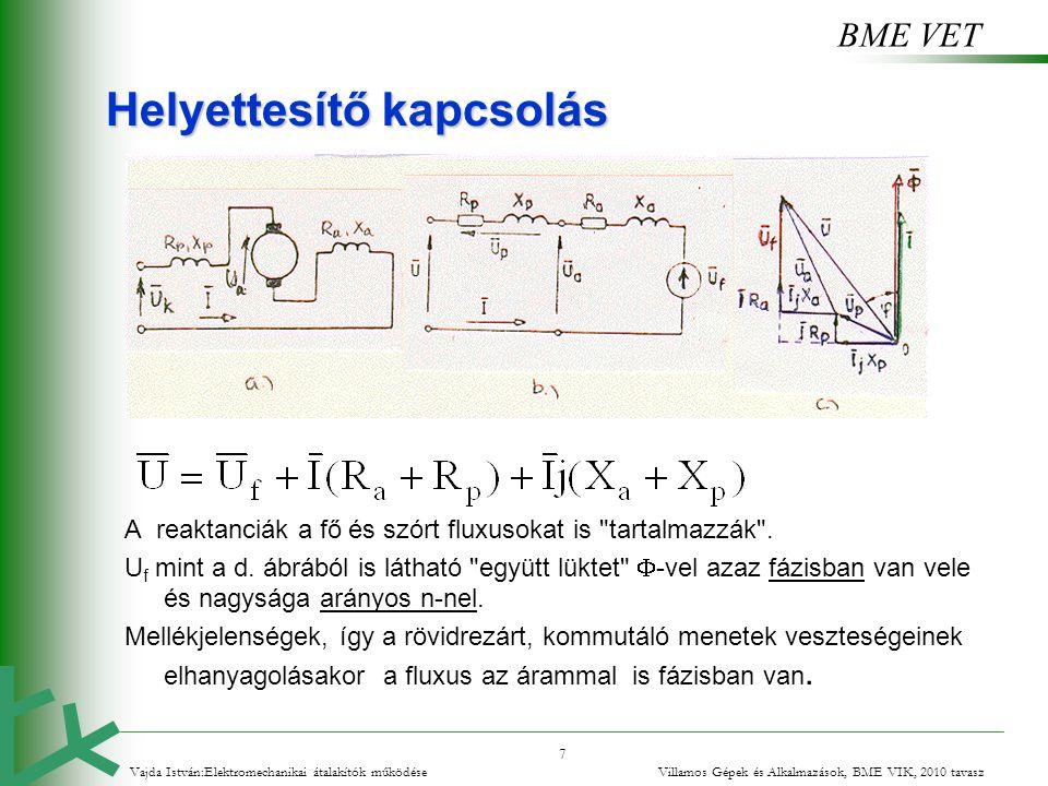 BME VET 7 Helyettesítő kapcsolás A reaktanciák a fő és szórt fluxusokat is