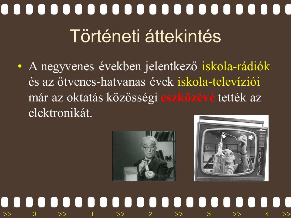 >>0 >>1 >> 2 >> 3 >> 4 >> Történeti áttekintés •A múlt század húszas éveiben elterjedt nyilvános rádió és a harmincas években megkezdődött nyilvános t