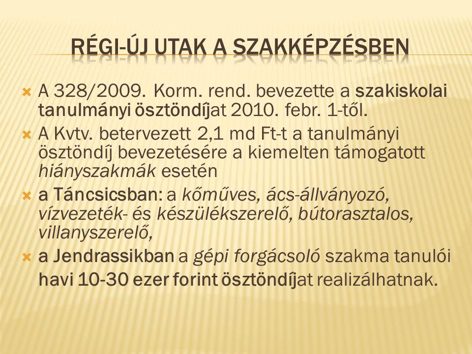  A 328/2009. Korm. rend. bevezette a szakiskolai tanulmányi ösztöndíjat 2010.