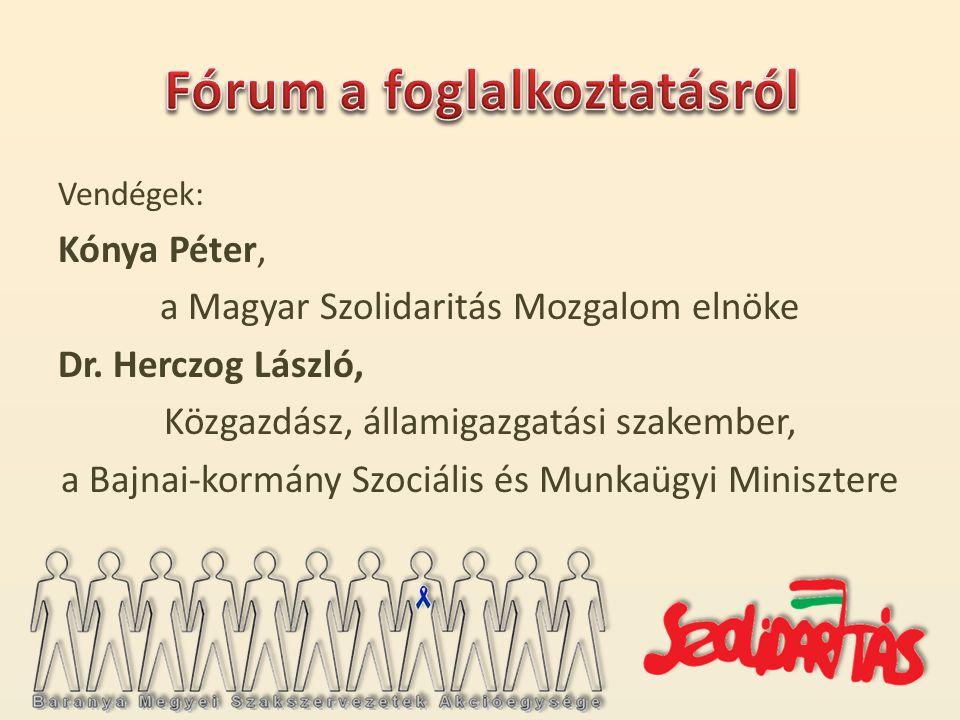 Vendégek: Kónya Péter, a Magyar Szolidaritás Mozgalom elnöke Dr.