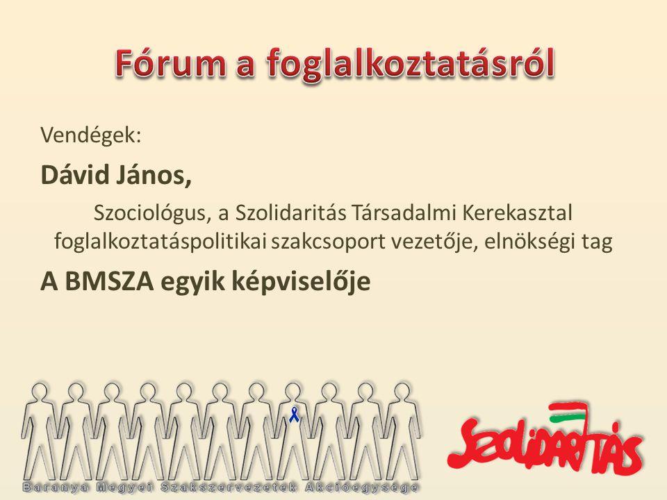 Vendégek: Dávid János, Szociológus, a Szolidaritás Társadalmi Kerekasztal foglalkoztatáspolitikai szakcsoport vezetője, elnökségi tag A BMSZA egyik képviselője