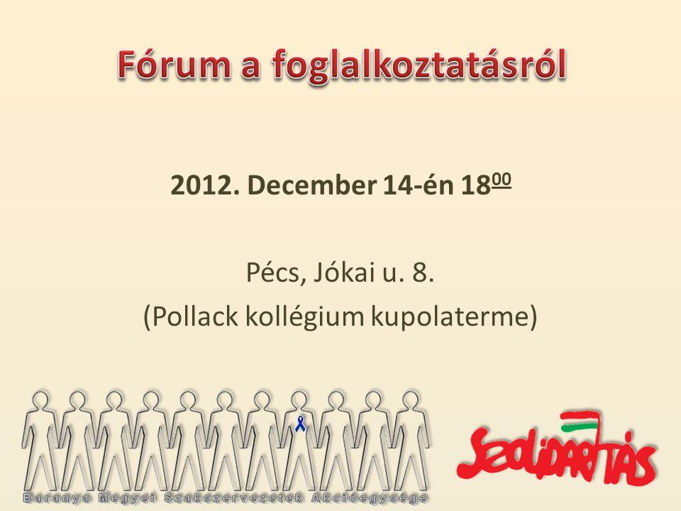 2012. December 14-én 18 00 Pécs, Jókai u. 8. (Pollack kollégium kupolaterme)