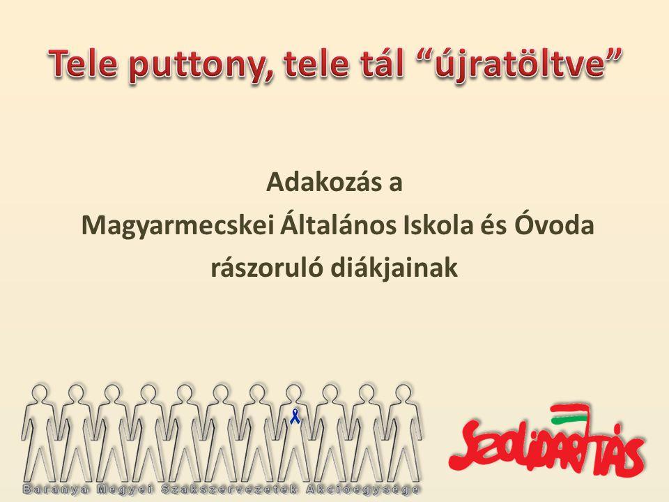 Adakozás a Magyarmecskei Általános Iskola és Óvoda rászoruló diákjainak