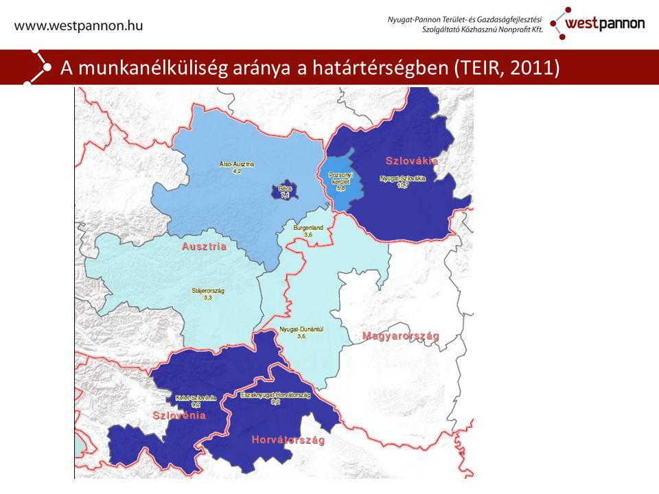 A munkanélküliség aránya a határtérségben (TEIR, 2011)