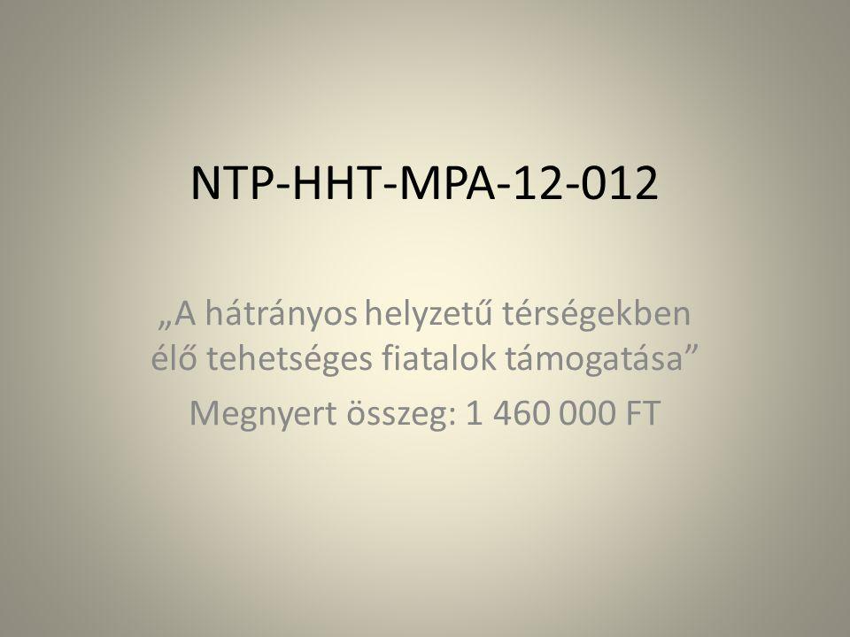 """NTP-HHT-MPA-12-012 """"A hátrányos helyzetű térségekben élő tehetséges fiatalok támogatása Megnyert összeg: 1 460 000 FT"""
