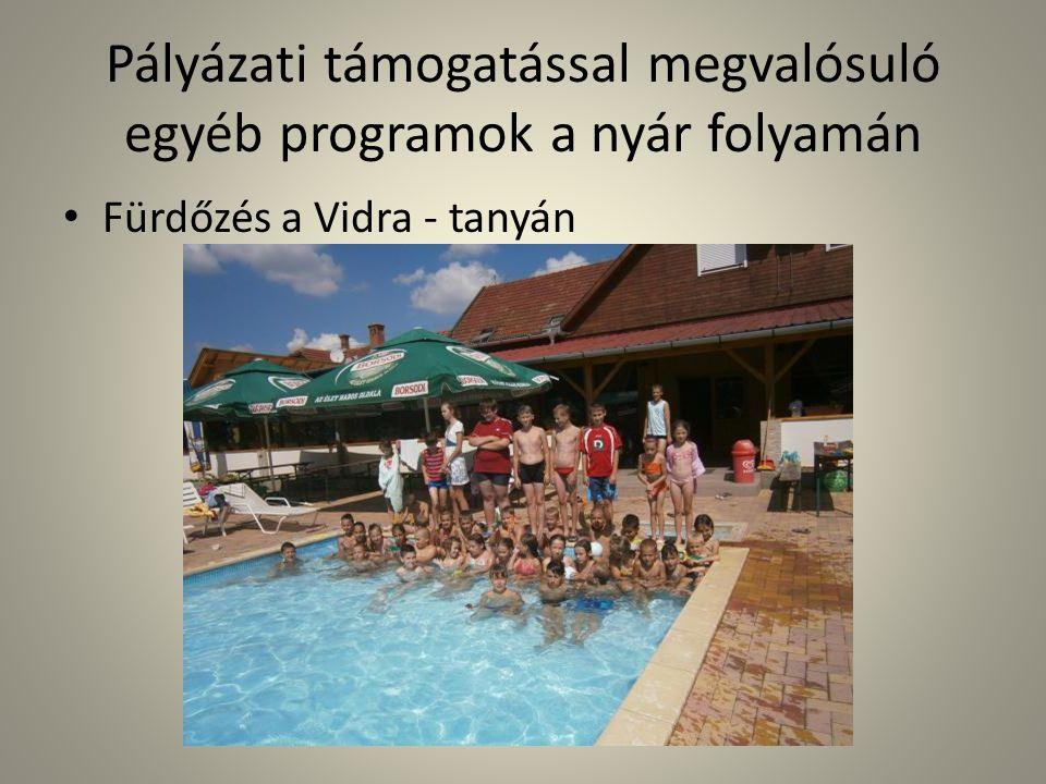 Pályázati támogatással megvalósuló egyéb programok a nyár folyamán • Fürdőzés a Vidra - tanyán