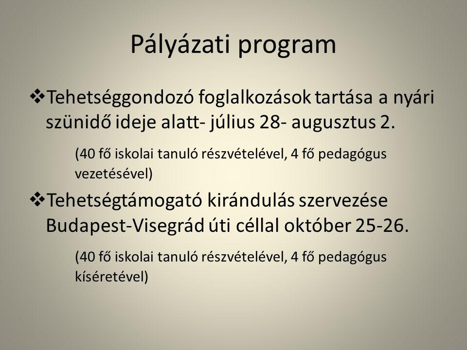 Pályázati program  Tehetséggondozó foglalkozások tartása a nyári szünidő ideje alatt- július 28- augusztus 2.