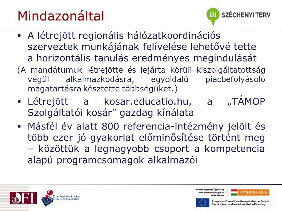 """Mindazonáltal  A létrejött regionális hálózatkoordinációs szerveztek munkájának felívelése lehetővé tette a horizontális tanulás eredményes megindulását (A mandátumuk létrejötte és lejárta körüli kiszolgáltatottság végül alkalmazkodásra, egyoldalú piacbefolyásoló magatartásra késztette többségüket.)  Létrejött a kosar.educatio.hu, a """"TÁMOP Szolgáltatói kosár gazdag kínálata  Másfél év alatt 800 referencia-intézmény jelölt és több ezer jó gyakorlat előminősítése történt meg – közöttük a legnagyobb csoport a kompetencia alapú programcsomagok alkalmazói"""