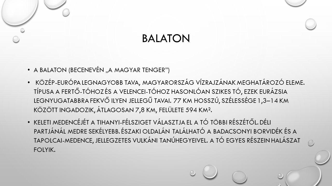 """BALATON • A BALATON (BECENEVÉN """"A MAGYAR TENGER"""") • KÖZÉP-EURÓPA LEGNAGYOBB TAVA, MAGYARORSZÁG VÍZRAJZÁNAK MEGHATÁROZÓ ELEME. TÍPUSA A FERTŐ-TÓHOZ ÉS"""