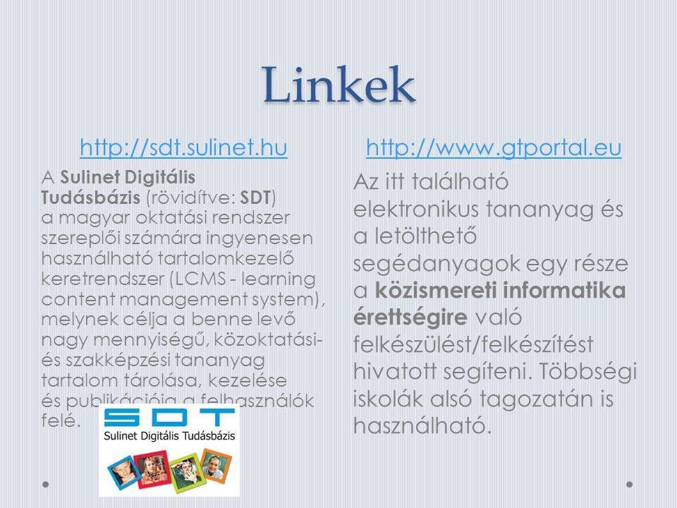 Linkek http://sdt.sulinet.huhttp://www.gtportal.eu A Sulinet Digitális Tudásbázis (rövidítve: SDT ) a magyar oktatási rendszer szereplői számára ingyenesen használható tartalomkezelő keretrendszer (LCMS - learning content management system), melynek célja a benne levő nagy mennyiségű, közoktatási- és szakképzési tananyag tartalom tárolása, kezelése és publikációja a felhasználók felé.