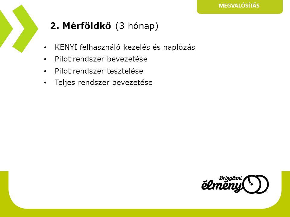 2. Mérföldkő (3 hónap) • KENYI felhasználó kezelés és naplózás • Pilot rendszer bevezetése • Pilot rendszer tesztelése • Teljes rendszer bevezetése ME