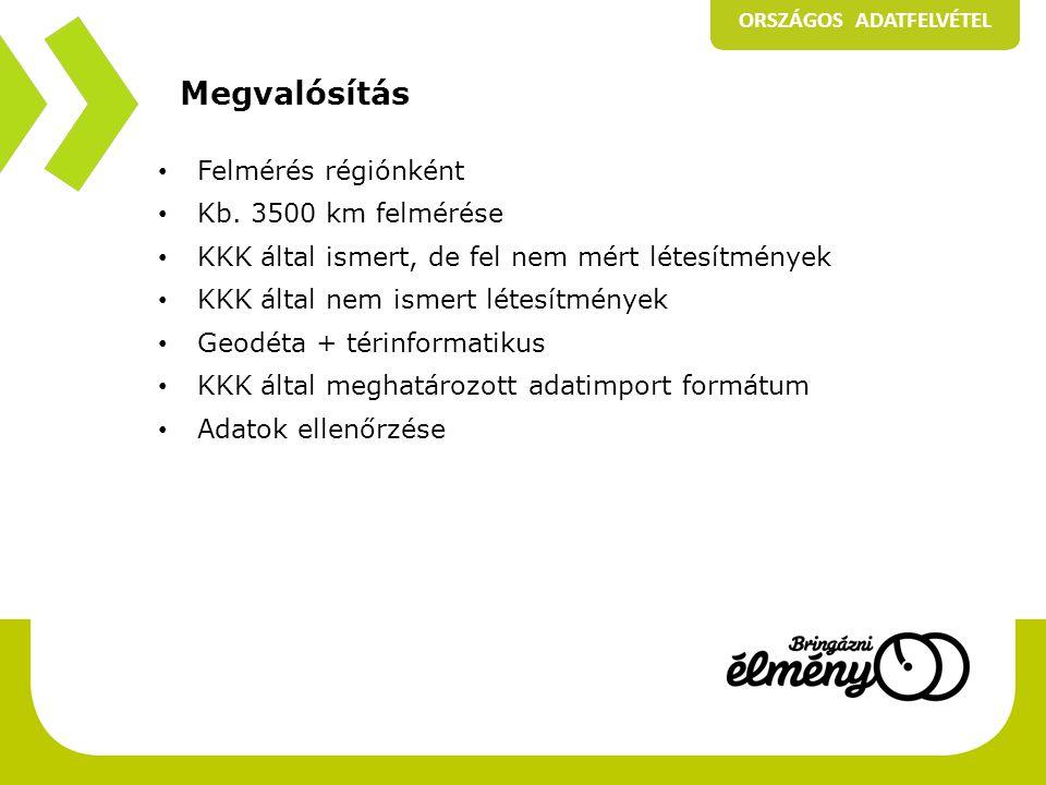Megvalósítás • Felmérés régiónként • Kb.