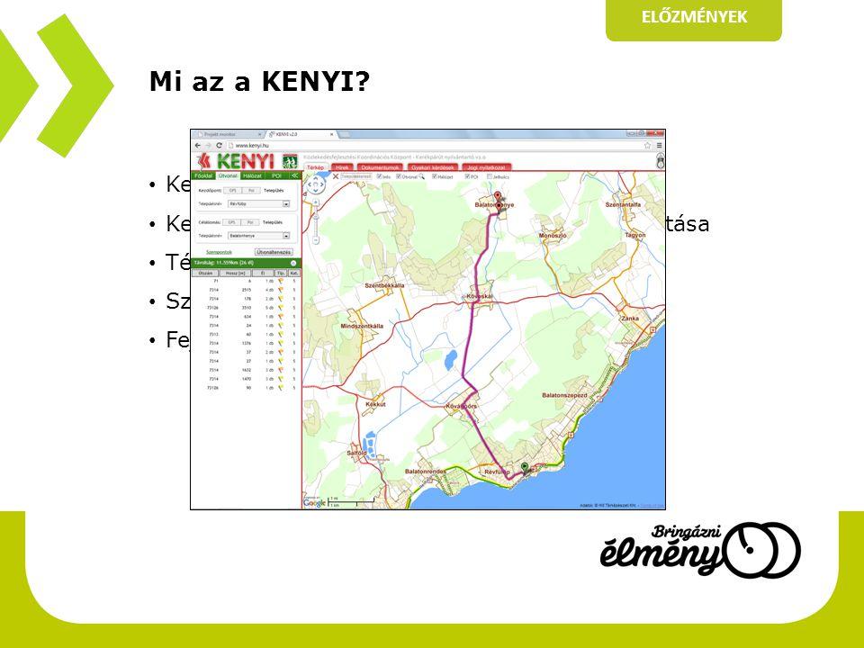 Mi az a KENYI? • Kerékpárút Nyilvántartó Rendszer • Kerékpáros létesítmények országos nyilvántartása • Térinformatikai rendszer: térkép és adatok • Sz