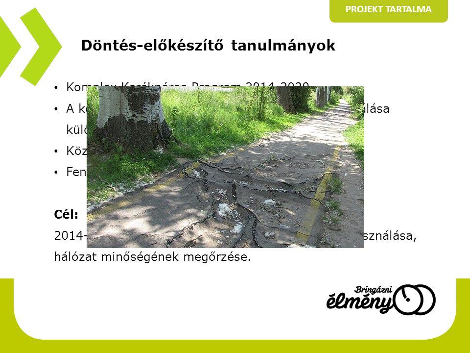 Döntés-előkészítő tanulmányok PROJEKT TARTALMA • Komplex Kerékpáros Program 2014-2020 • A kerékpározás mint horizontális szempont integrálása különböző fejlesztési területekbe • Központi koordinációs szervezet • Fenntartás - üzemeltetés Cél: 2014-2020-as időszakban a források hatékony felhasználása, hálózat minőségének megőrzése.