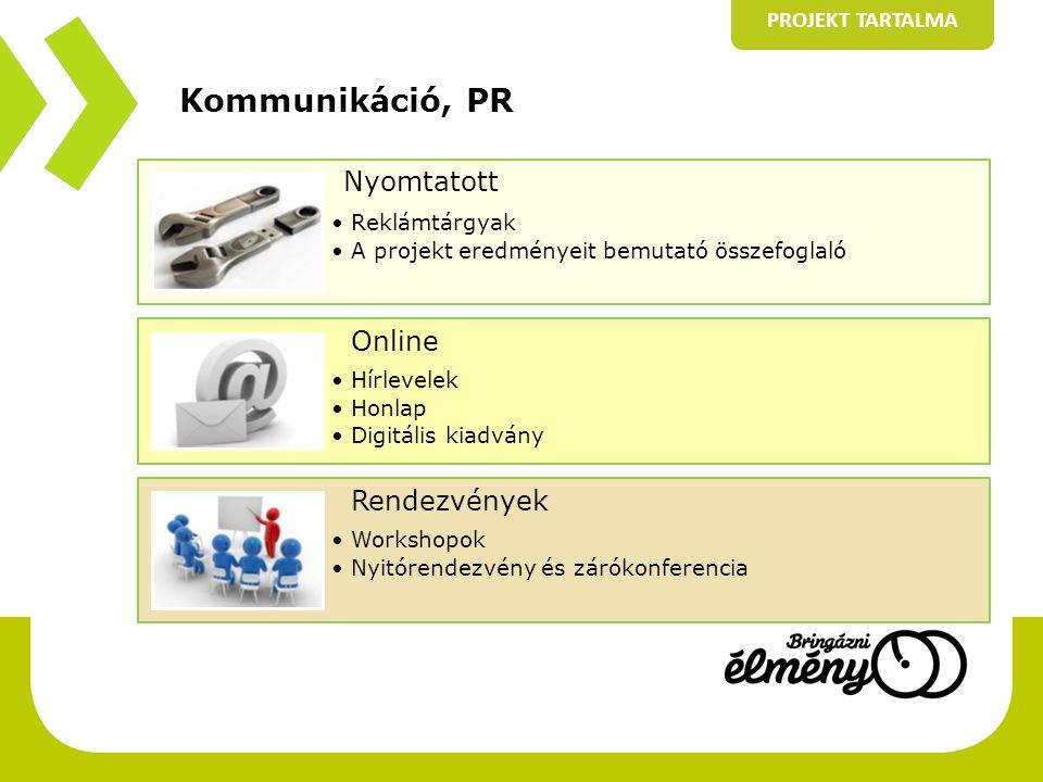 Kommunikáció, PR PROJEKT TARTALMA Nyomtatott •Reklámtárgyak •A projekt eredményeit bemutató összefoglaló Online •Hírlevelek •Honlap •Digitális kiadván