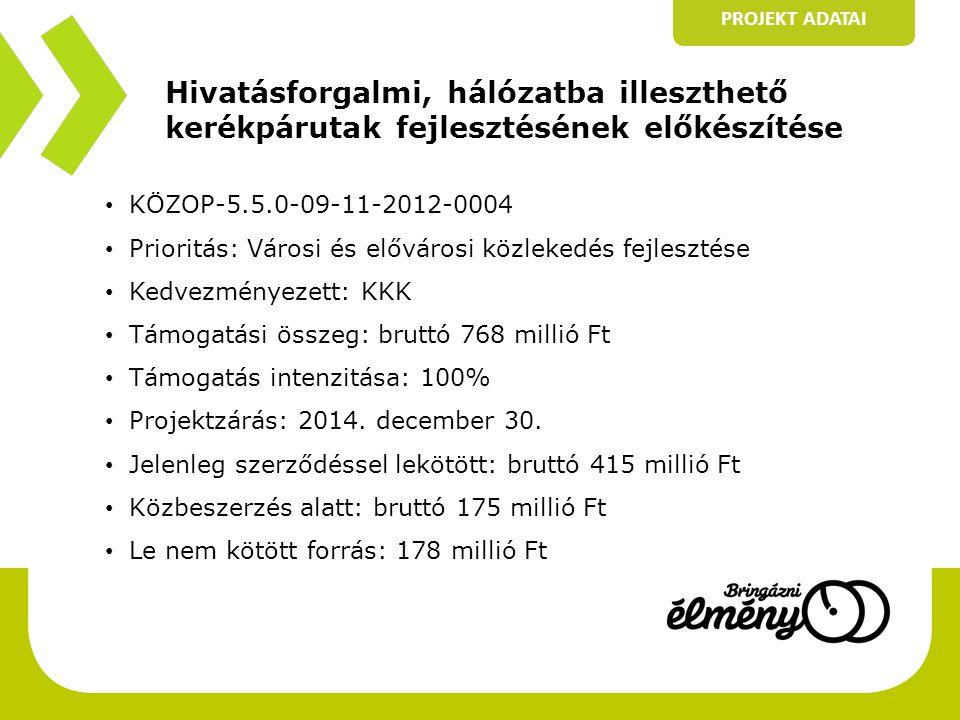Hivatásforgalmi, hálózatba illeszthető kerékpárutak fejlesztésének előkészítése PROJEKT ADATAI • KÖZOP-5.5.0-09-11-2012-0004 • Prioritás: Városi és elővárosi közlekedés fejlesztése • Kedvezményezett: KKK • Támogatási összeg: bruttó 768 millió Ft • Támogatás intenzitása: 100% • Projektzárás: 2014.