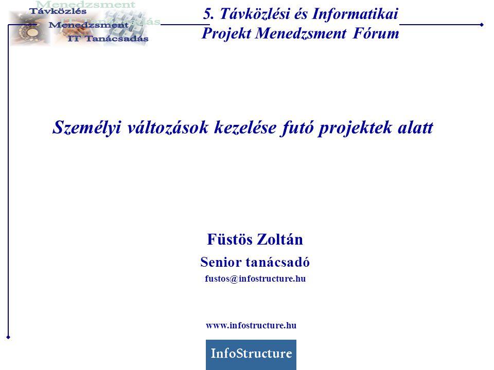 Személyi változások kezelése futó projektek alatt Füstös Zoltán Senior tanácsadó fustos@infostructure.hu 5.