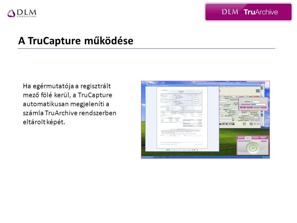 A TruCapture működése Ha egérmutatója a regisztrált mező fölé kerül, a TruCapture automatikusan megjeleníti a számla TruArchive rendszerben eltárolt képét.