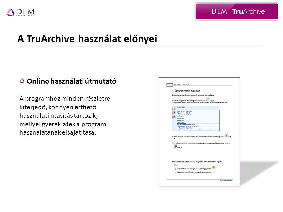 A TruArchive használat előnyei Online használati útmutató A programhoz minden részletre kiterjedő, könnyen érthető használati utasítás tartozik, melly