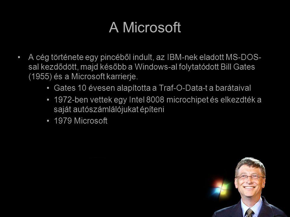 A Microsoft •A cég története egy pincéből indult, az IBM-nek eladott MS-DOS- sal kezdődött, majd később a Windows-al folytatódott Bill Gates (1955) és
