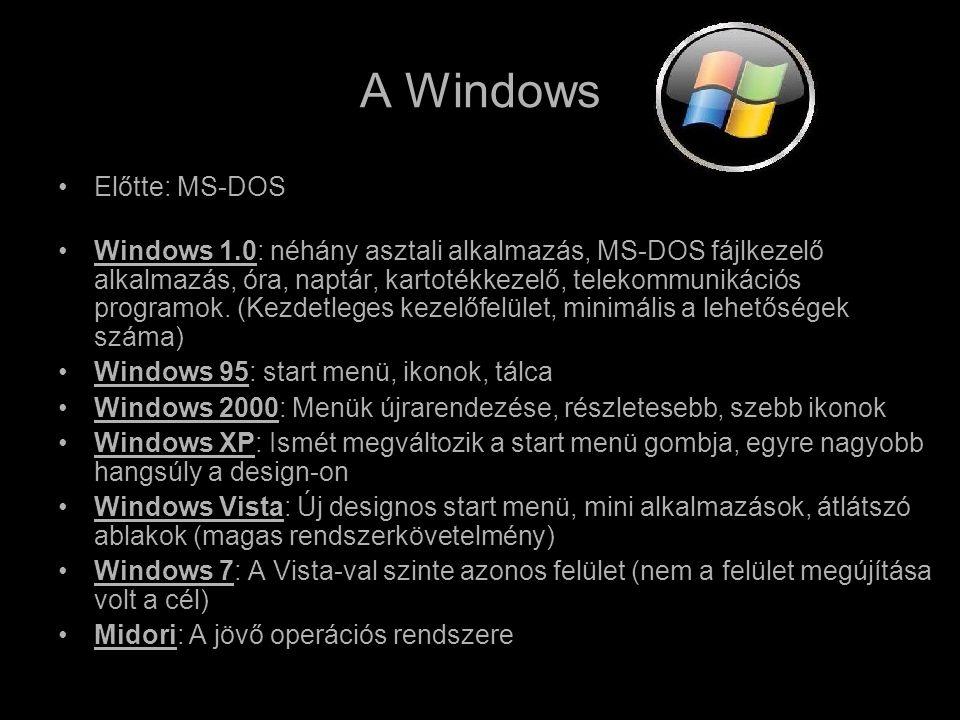 A Windows •Előtte: MS-DOS •Windows 1.0: néhány asztali alkalmazás, MS-DOS fájlkezelő alkalmazás, óra, naptár, kartotékkezelő, telekommunikációs programok.