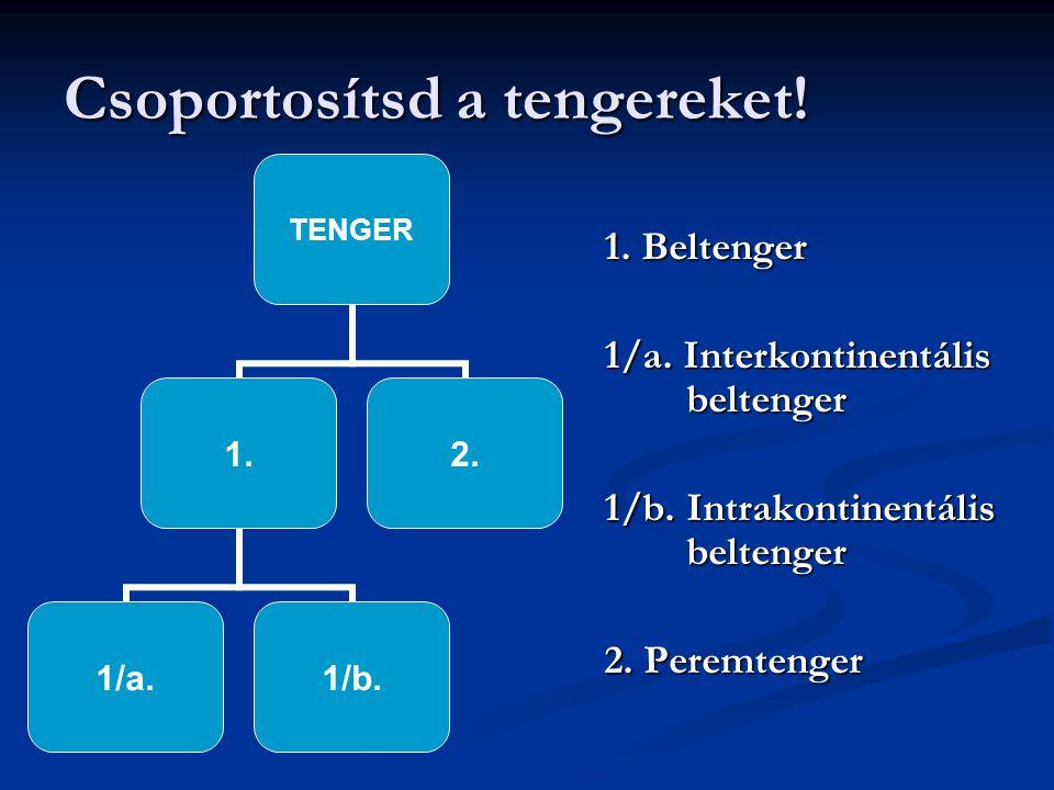 Csoportosítsd a tengereket! 1. Beltenger 1/a. Interkontinentális beltenger 1/b. Intrakontinentális beltenger 2. Peremtenger TENGER 1. 1/a.1/b. 2.