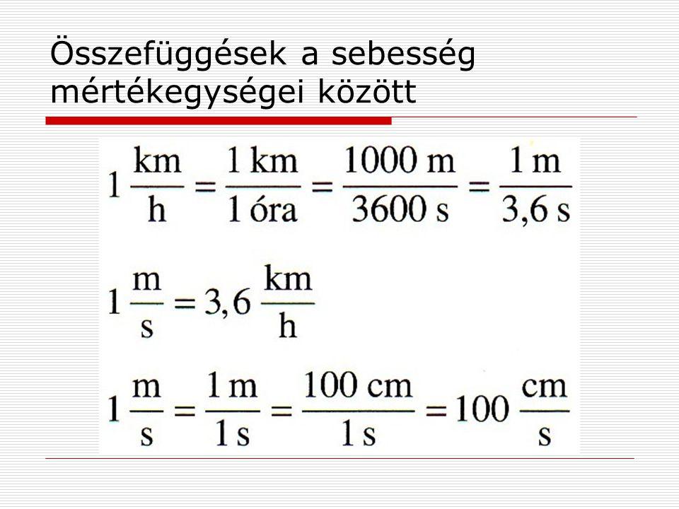 Összefüggések a sebesség mértékegységei között