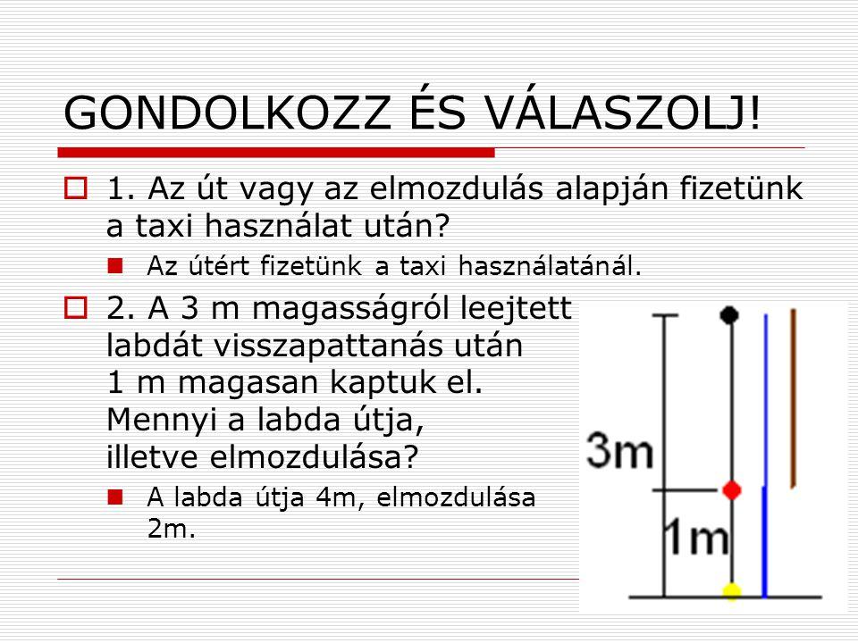 GONDOLKOZZ ÉS VÁLASZOLJ!  1. Az út vagy az elmozdulás alapján fizetünk a taxi használat után?  Az útért fizetünk a taxi használatánál.  2. A 3 m ma