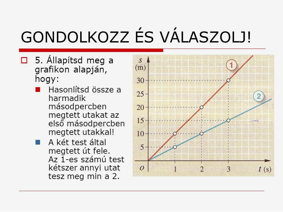 GONDOLKOZZ ÉS VÁLASZOLJ!  5. Állapítsd meg a grafikon alapján, hogy:  Hasonlítsd össze a harmadik másodpercben megtett utakat az első másodpercben m