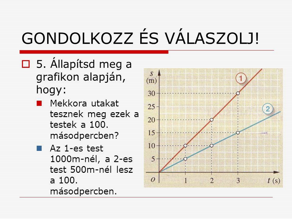 GONDOLKOZZ ÉS VÁLASZOLJ!  5. Állapítsd meg a grafikon alapján, hogy:  Mekkora utakat tesznek meg ezek a testek a 100. másodpercben?  Az 1-es test 1