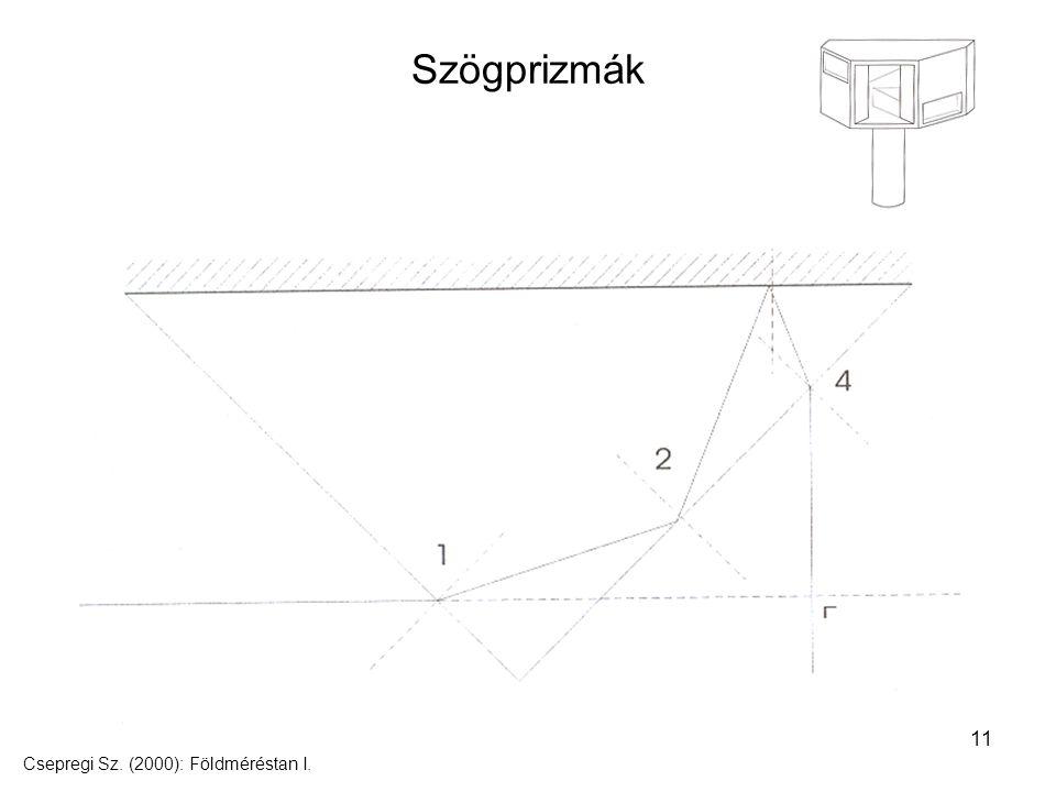 11 Szögprizmák Csepregi Sz. (2000): Földméréstan I.
