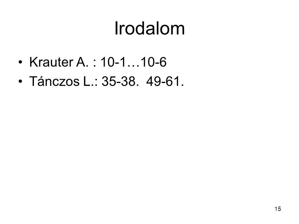 15 Irodalom •Krauter A. : 10-1…10-6 •Tánczos L.: 35-38. 49-61.