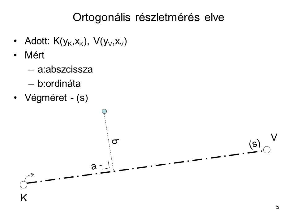 """6 Ortogonális részletmérés menete •Elhatárolás –részletpontok azonosítása –részletpontok ideiglenes megjelölése –  elhatárolási vázlat •Mérési vonal kitűzése •Részletpontok mérése növekvő abszcissza szerint, mérési jegyzet vezetése •""""Végméret •Ellenőrző mérések –más mérési vonalról –""""összemérések –Mérési vonal kezdő- és végpontjával – """"kikötés •Kiegészítő mérések –épületek körbemérése"""