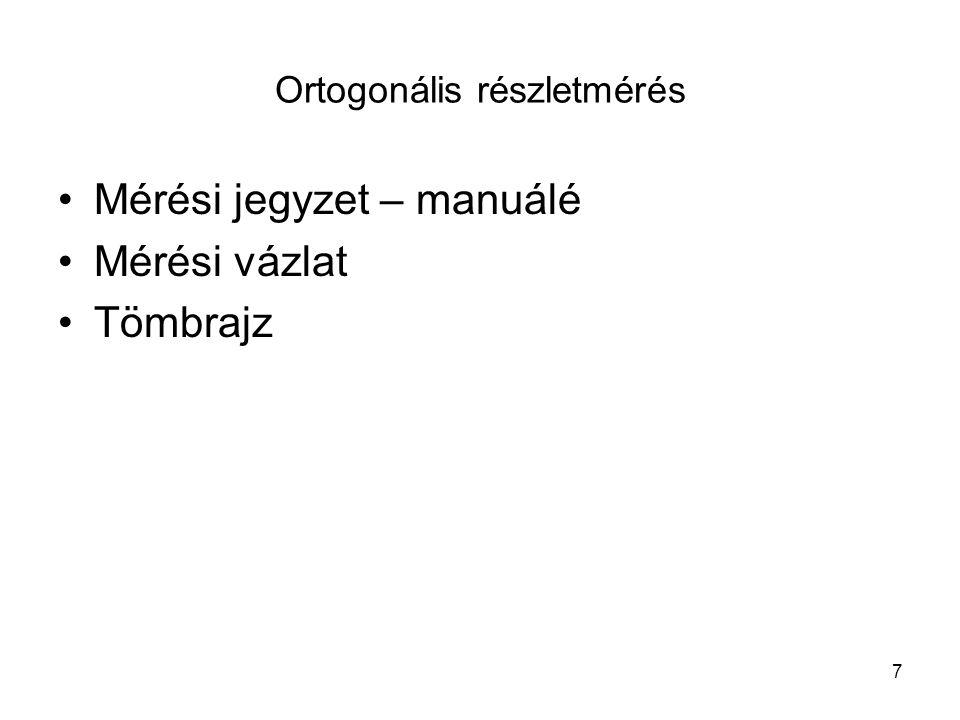 7 •Mérési jegyzet – manuálé •Mérési vázlat •Tömbrajz Ortogonális részletmérés
