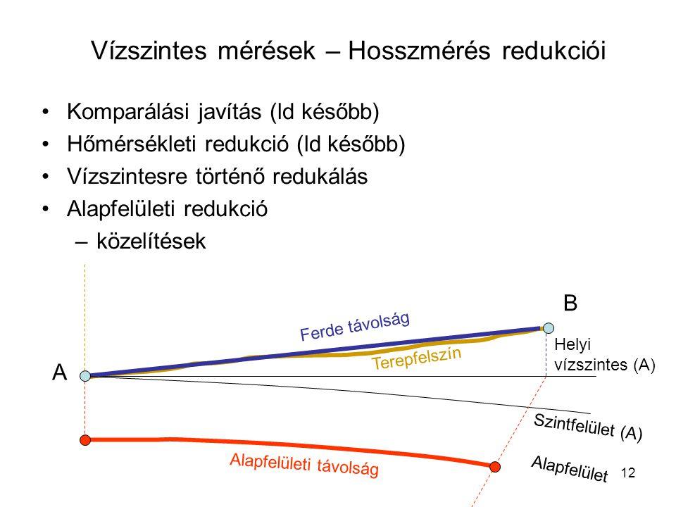 12 •Komparálási javítás (ld később) •Hőmérsékleti redukció (ld később) •Vízszintesre történő redukálás •Alapfelületi redukció –közelítések Vízszintes