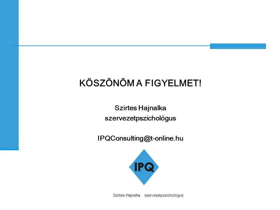 Szirtes Hajnalka szervezetpszichológus KÖSZÖNÖM A FIGYELMET! Szirtes Hajnalka szervezetpszichológus IPQConsulting@t-online.hu