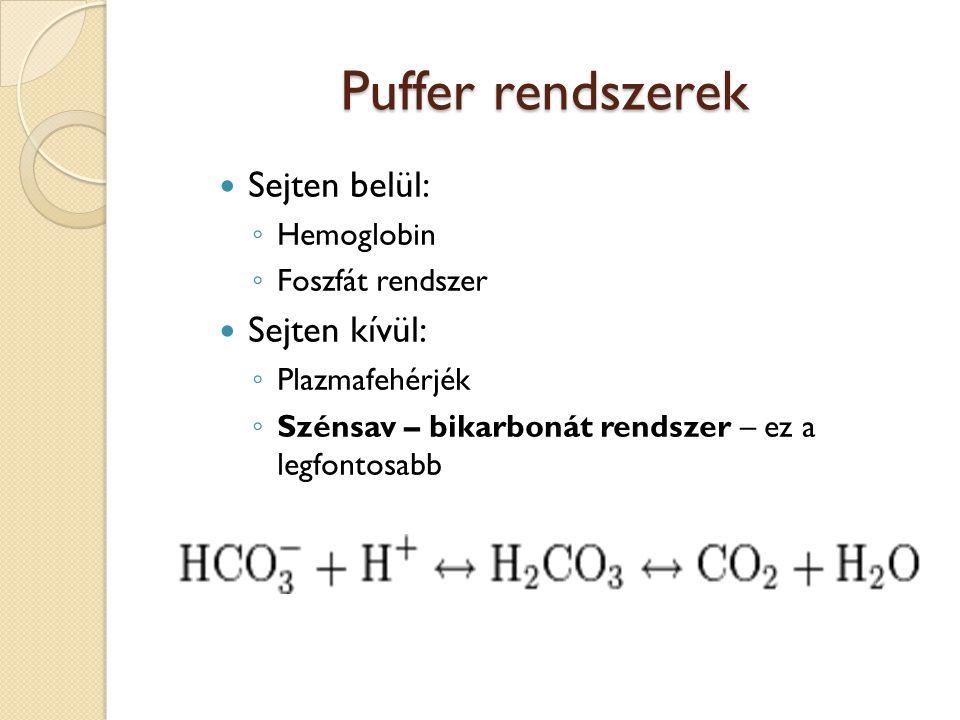 Puffer rendszerek  Sejten belül: ◦ Hemoglobin ◦ Foszfát rendszer  Sejten kívül: ◦ Plazmafehérjék ◦ Szénsav – bikarbonát rendszer – ez a legfontosabb