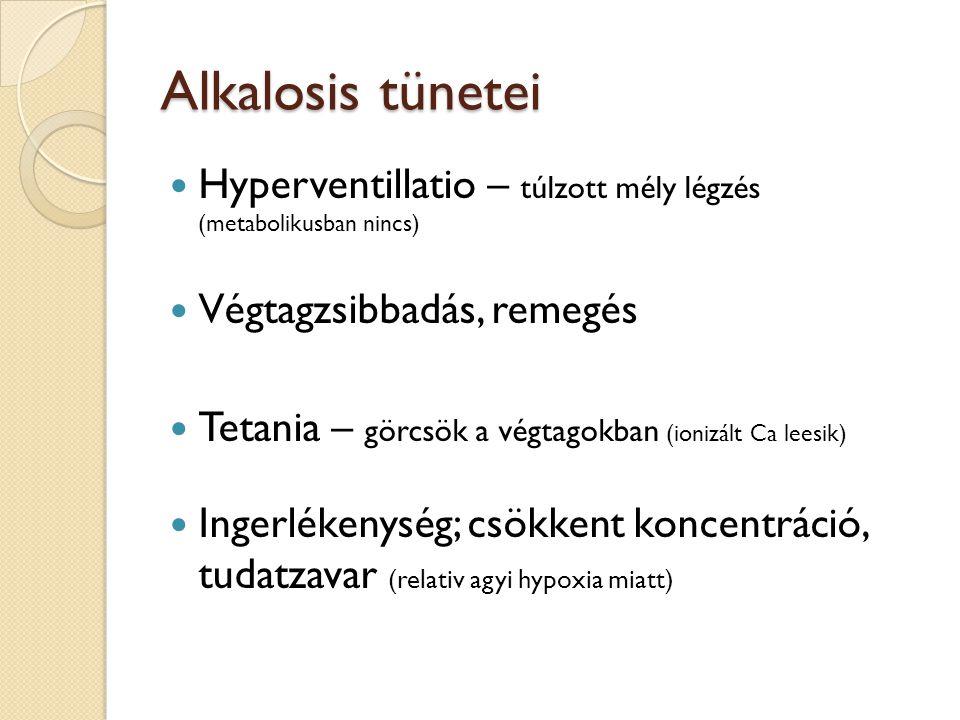 Alkalosis tünetei  Hyperventillatio – túlzott mély légzés (metabolikusban nincs)  Végtagzsibbadás, remegés  Tetania – görcsök a végtagokban (ionizá
