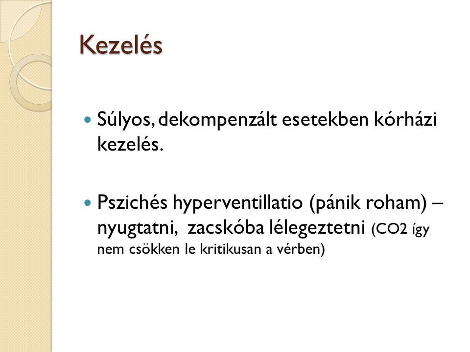 Kezelés  Súlyos, dekompenzált esetekben kórházi kezelés.  Pszichés hyperventillatio (pánik roham) – nyugtatni, zacskóba lélegeztetni (CO2 így nem cs